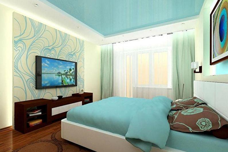 Conception de chambre à coucher turquoise - Finition de plafond