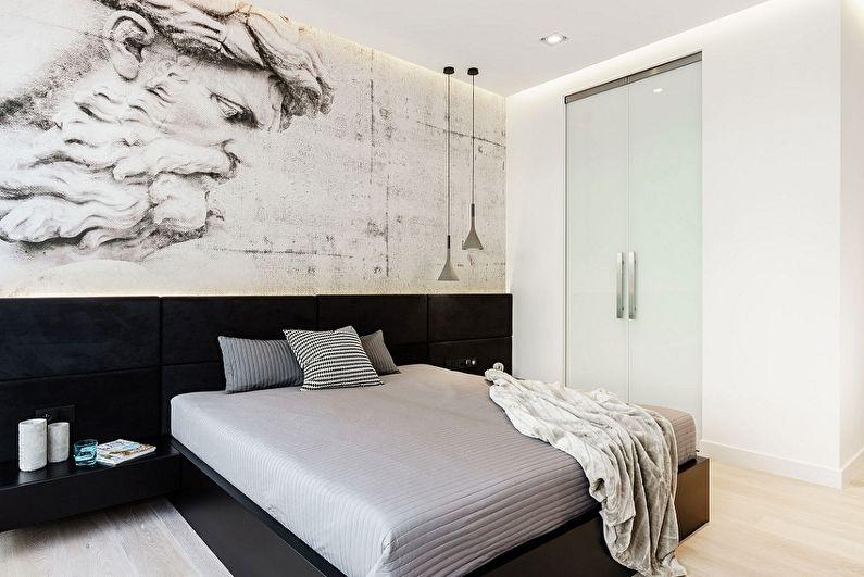 Conception de la chambre 9 m²  dans le style du minimalisme