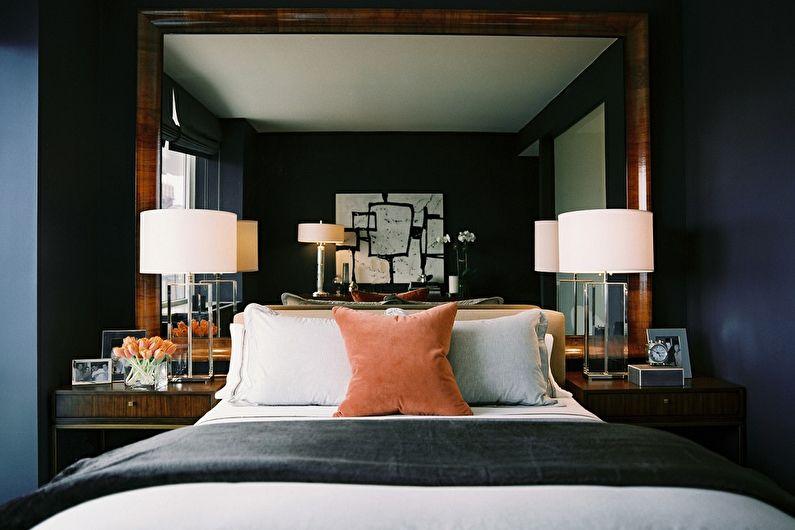 Conception de la chambre 9 m²  en couleurs sombres