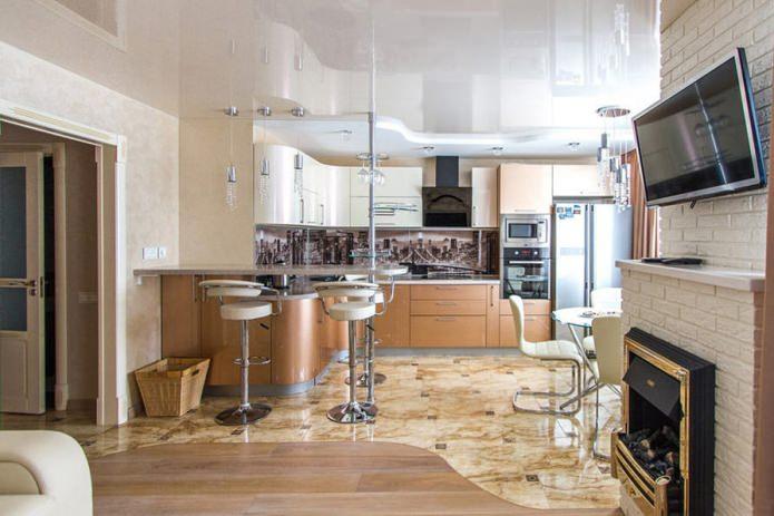 conception de cuisine-salon avec un bar