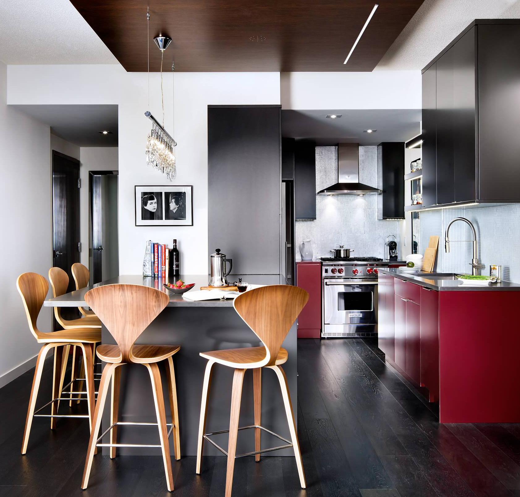 Mobilier mat rouge foncé à l'intérieur d'une cuisine moderne