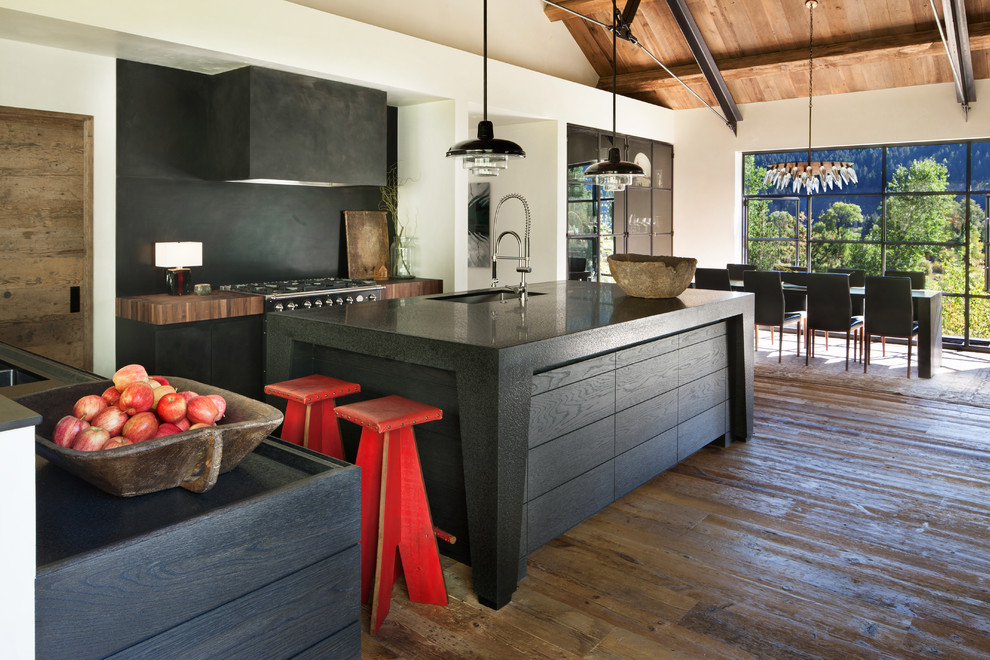 Cuisine de maison privée avec intérieur de style loft