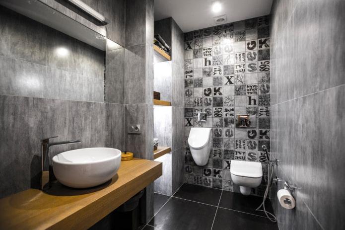 toilettes sombres spacieuses