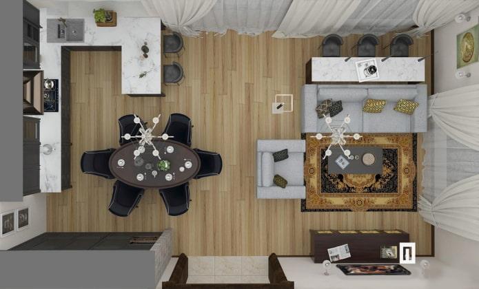 aménagement d'une cuisine-salon rectangulaire 25 carrés