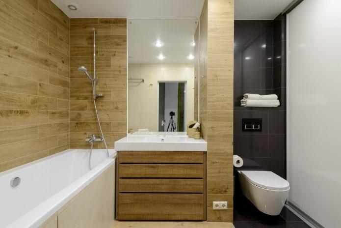 carreaux muraux en bois à l'intérieur de la salle de bain