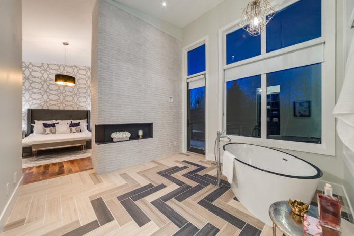 la disposition des carreaux pour le bois à l'intérieur de la salle de bain