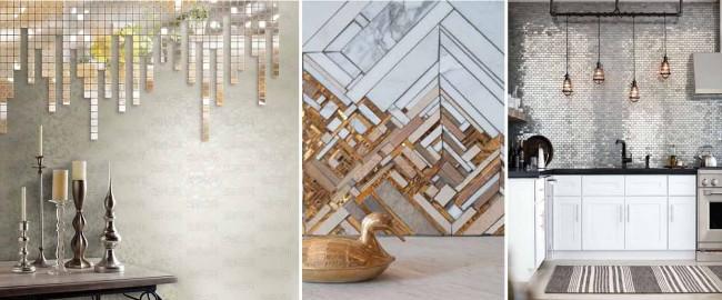 Éclats et morceaux de miroirs corrects, cuivre, marbre : en combinant ces matériaux, vous pouvez obtenir un décor cher et très stylé