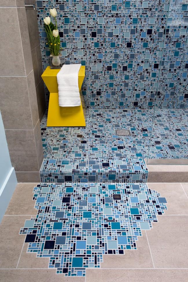 Débit d'eau pixélisé - déco de salle de bain pleine d'esprit et positive