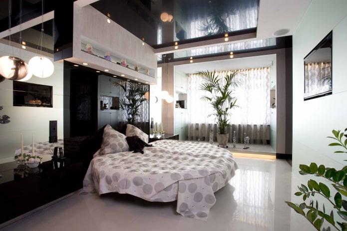 plafond tendu à deux niveaux dans la chambre