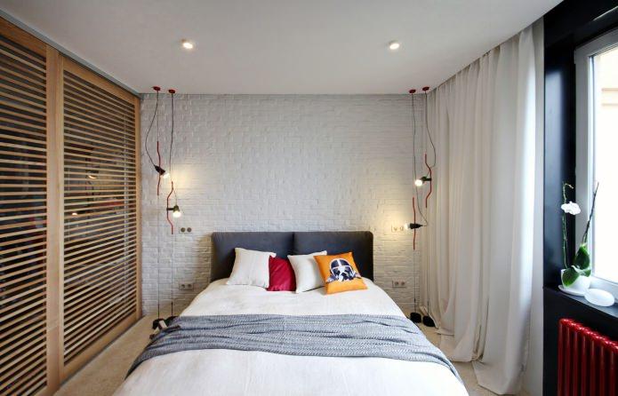 mur de briques blanches dans la chambre