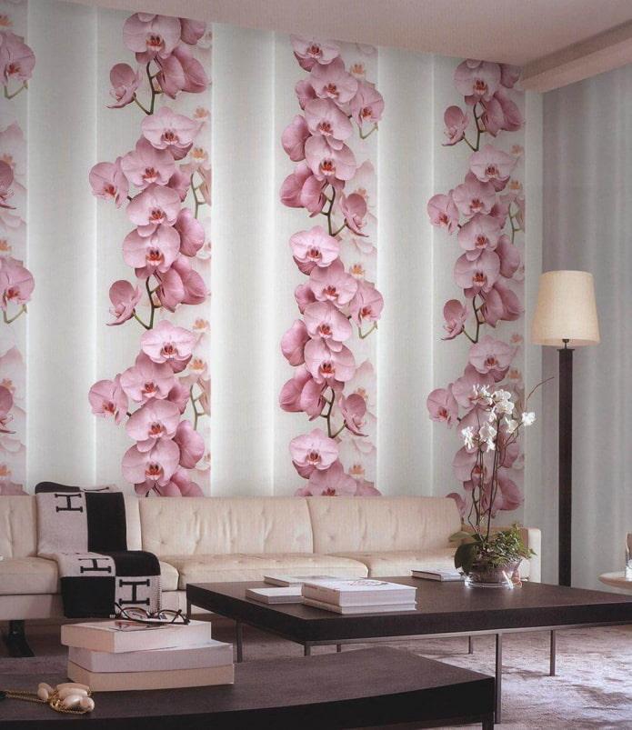 papier peint avec des orchidées à l'intérieur