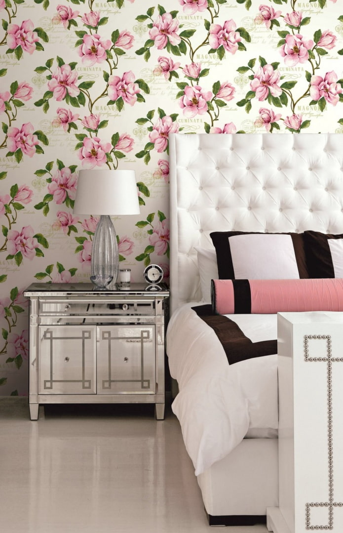 papier peint avec du magnolia à l'intérieur