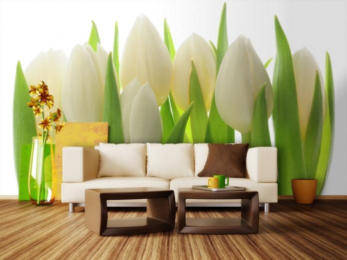 papier peint photo avec des tulipes