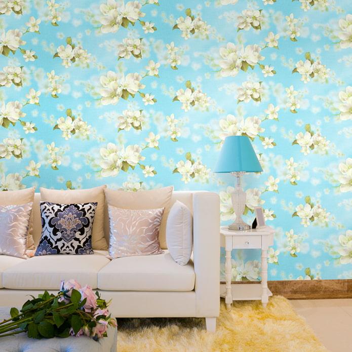 papier peint avec un pommier en fleurs à l'intérieur