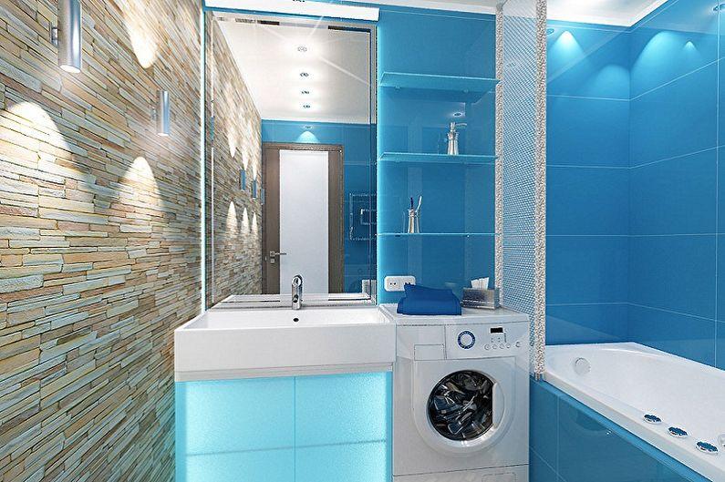 Salle de bain bleue 3 m²  - Design d'intérieur