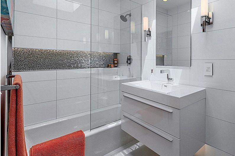 Salle de bain blanche 3 m²  - Design d'intérieur