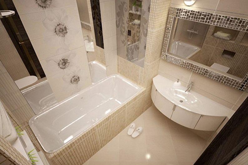 Salle de bain beige 3 m²  - Design d'intérieur