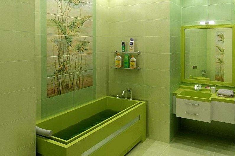 Salle de bain verte 3 m²  - Design d'intérieur