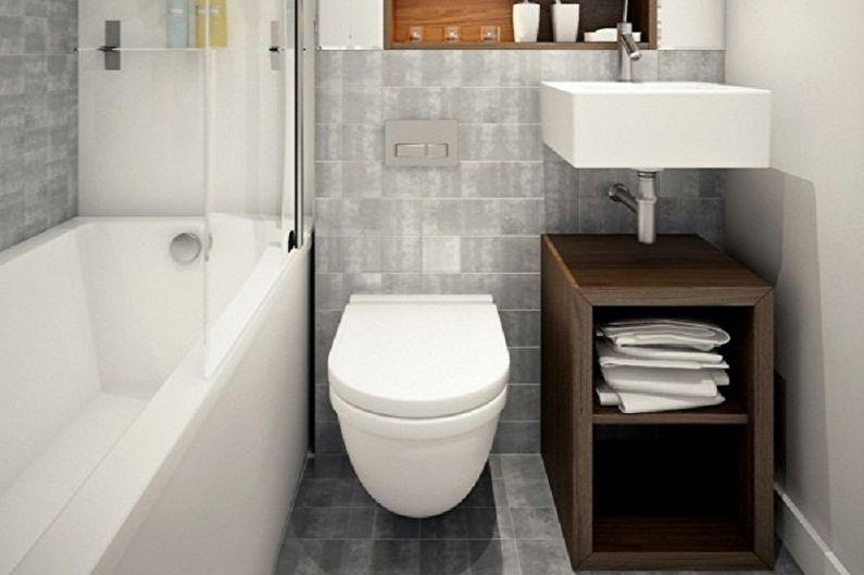 Salle de bain grise 3 m²  - Design d'intérieur
