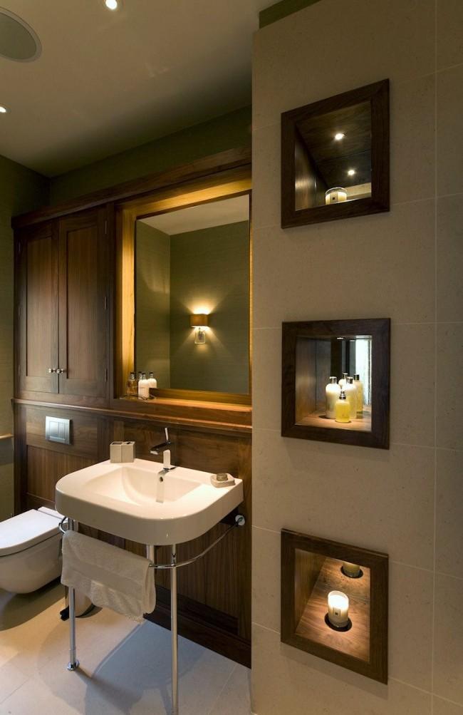 La niche en miroir ajoutera de la lumière et de la chaleur à la pièce