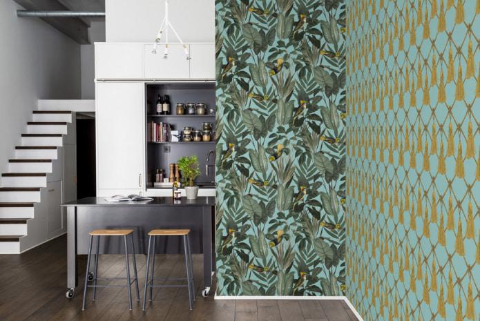 cuisine avec papier peint combiné