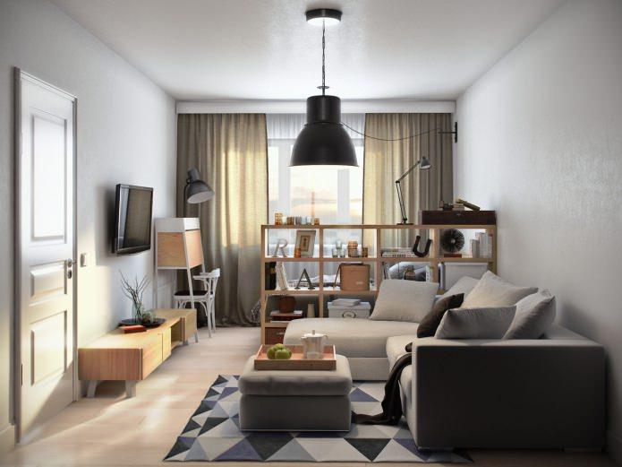 salon-chambre dans la conception d'un studio de 36 m².  m.