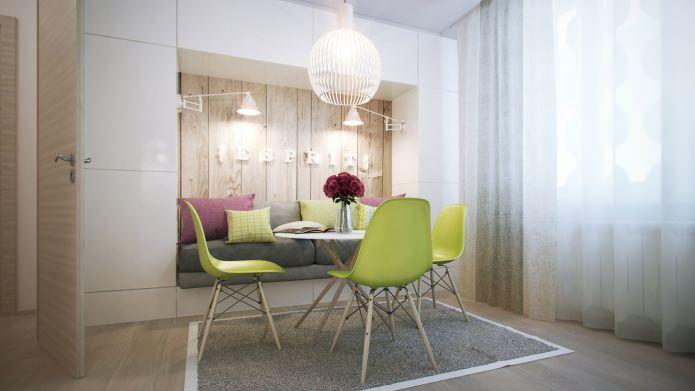 cuisine dans la conception d'un appartement d'une pièce de 40 m².  m.