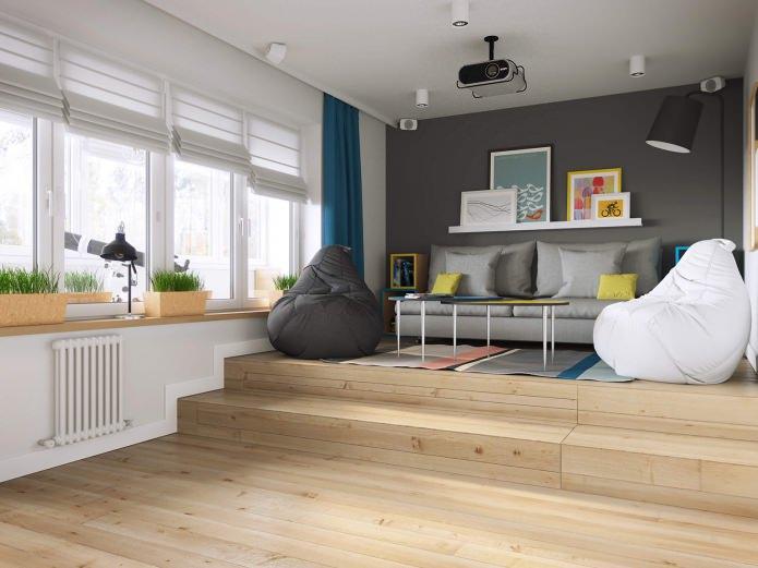 salon dans la conception d'un appartement d'une pièce de 37 m².  m.