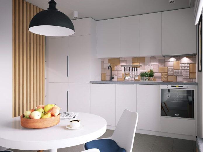 cuisine dans la conception d'un appartement d'une pièce de 37 m².  m.