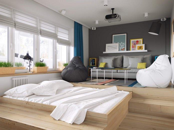 salon-chambre dans la conception d'un appartement d'une pièce de 37 m².  m.