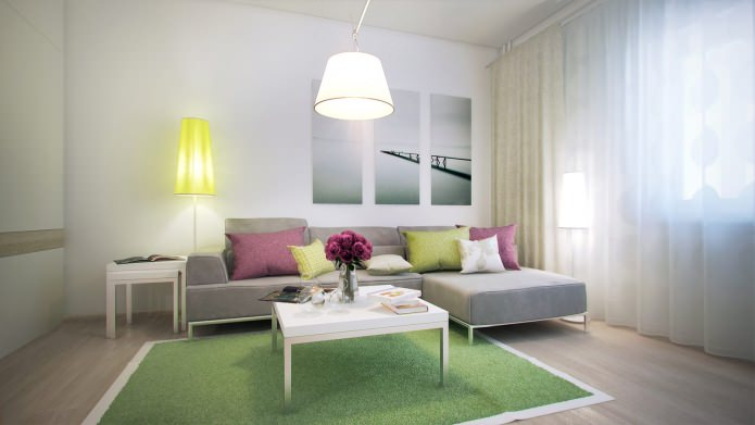 salon dans la conception d'un appartement d'une pièce de 40 m².  m.