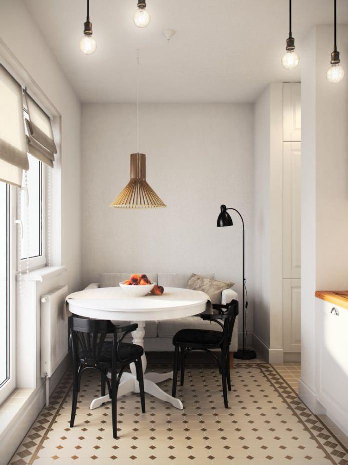 cuisine dans la conception d'un studio de 36 m².  m.