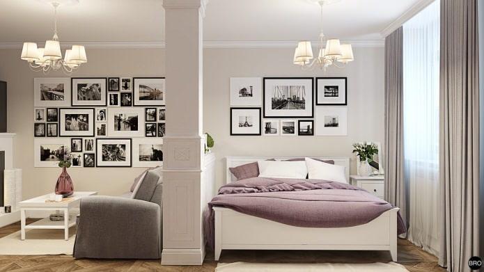 chambre-salon dans un projet de studio