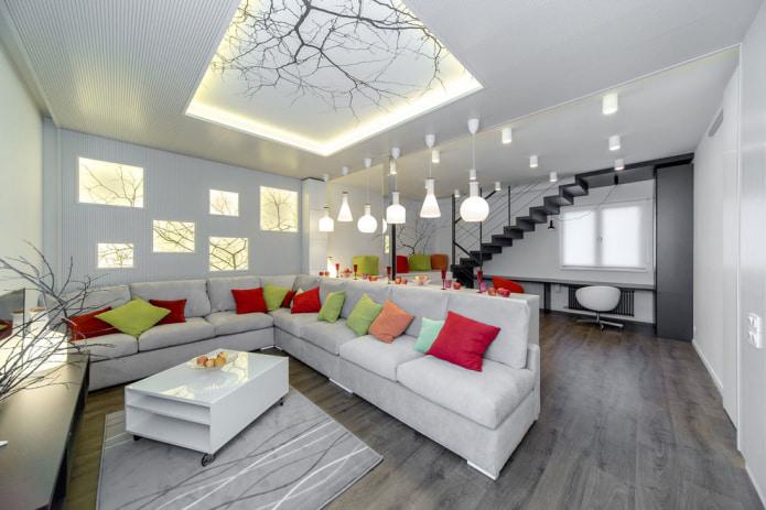 plafond en plaques de plâtre à motifs