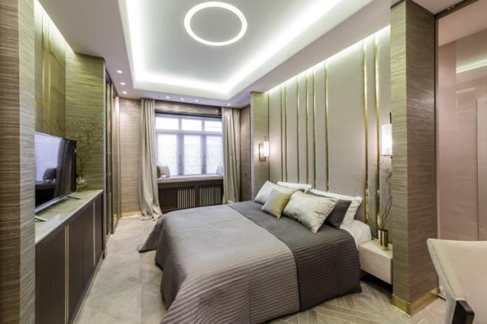 plafond éclairé dans la chambre