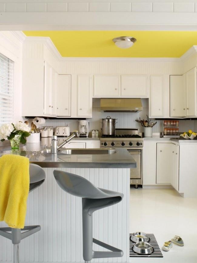 Plafond citronné - une touche lumineuse à l'intérieur de la cuisine