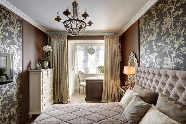 Zonage d'une chambre classique avec des rideaux occultants