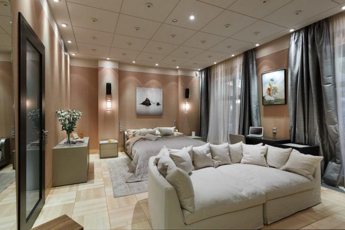 carreaux de plafond à l'intérieur de la chambre