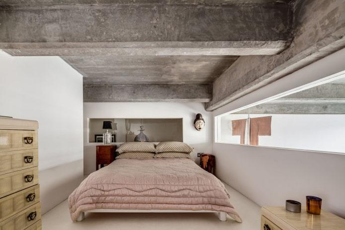 plafond en béton à l'intérieur de la chambre