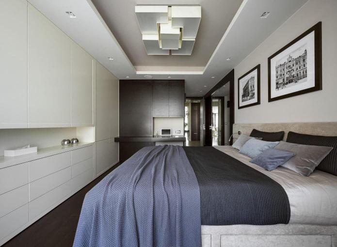 structure de plafond à deux niveaux dans la chambre