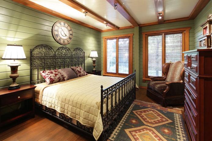 plafond avec poutres à l'intérieur de la chambre