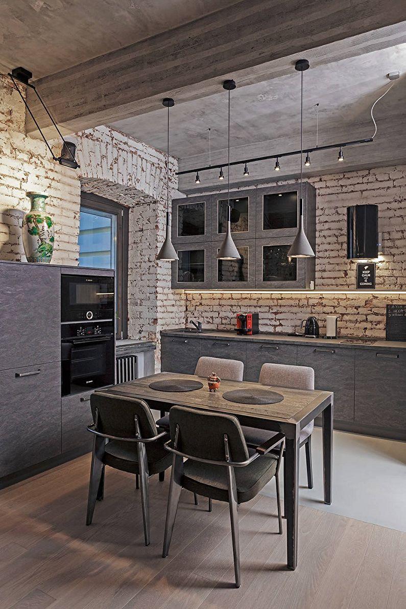 Cuisine 13 m²  style loft - Design d'intérieur