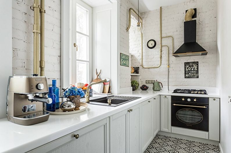 Cuisine blanche 13 m²  - Design d'intérieur