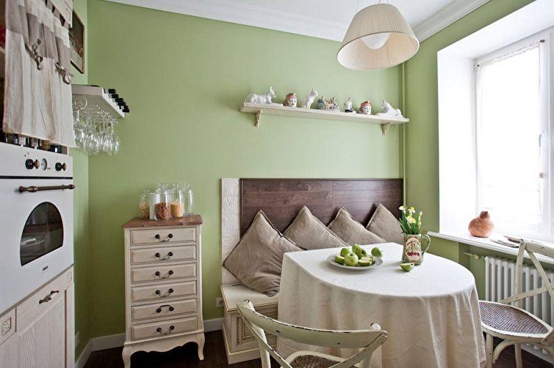 Cuisine verte 13 m²  - Design d'intérieur