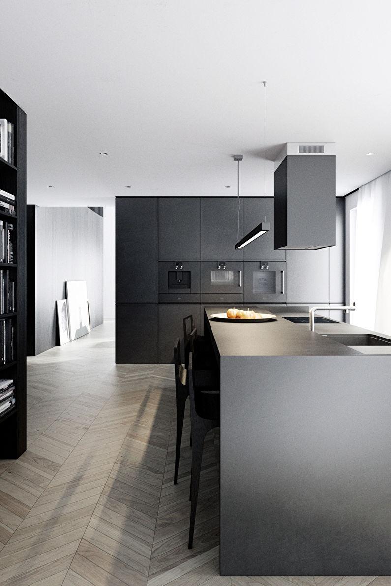 Cuisine noire dans le style du minimalisme - photo
