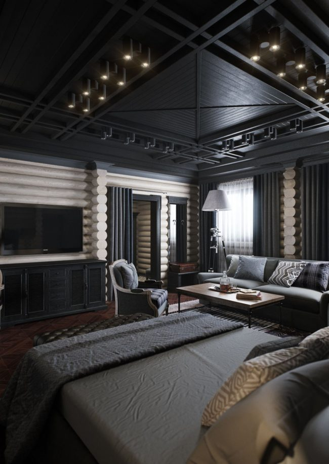 Plafond en bois peint en noir dans la chambre