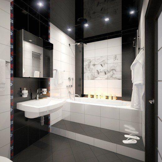 Plafond brillant avec spots dans la salle de bain