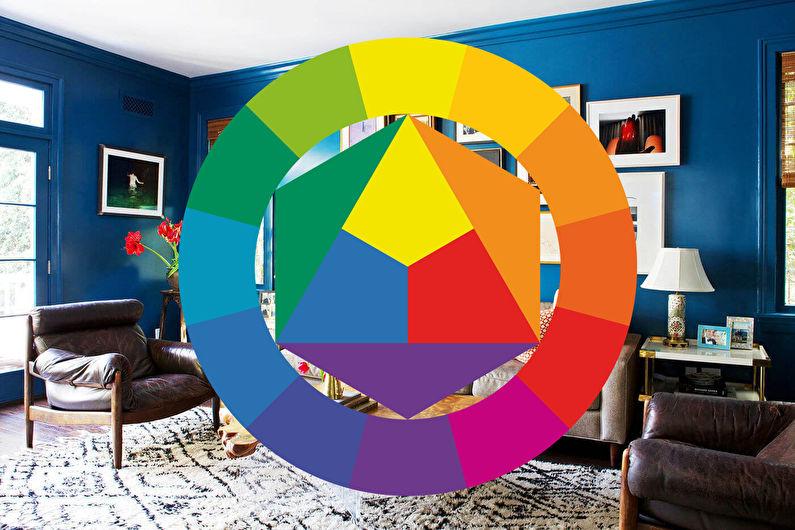 La combinaison de couleurs à l'intérieur du salon - Roue chromatique