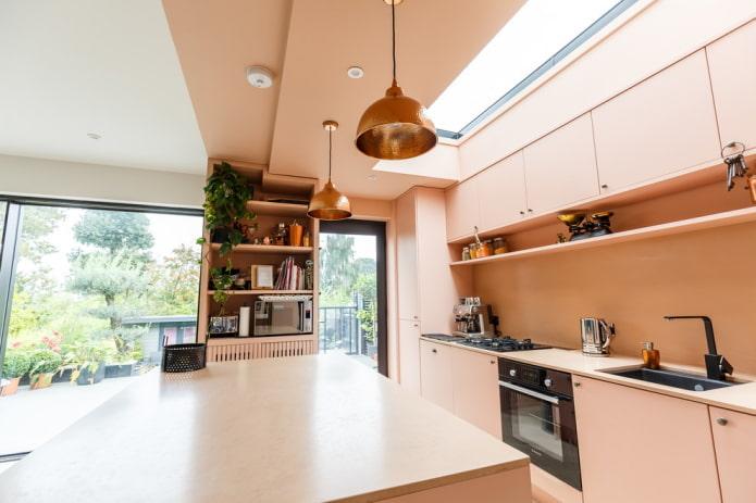 intérieur de cuisine rose