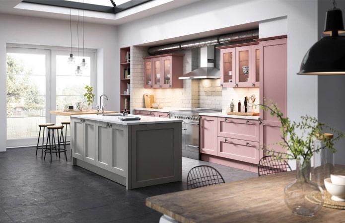 intérieur de cuisine dans des tons gris-rose